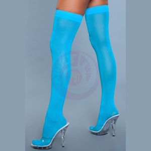 Opaque Nylon Thigh Highs - Turquoise - One Size