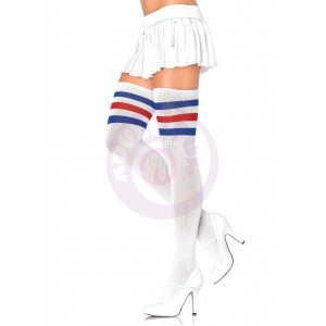 3 Stripes Athletic Ribbed Thigh Highs - One Size