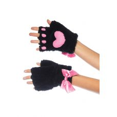 Adult Cat Paw Gloves Costume Accessory - Black
