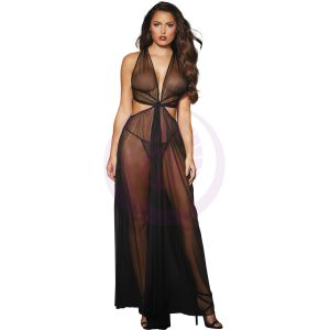 Gown, G-String - One Size - Black