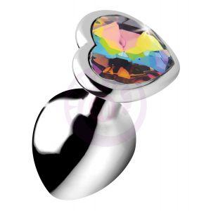 Rainbow Prism Heart Anal Plug - Medium