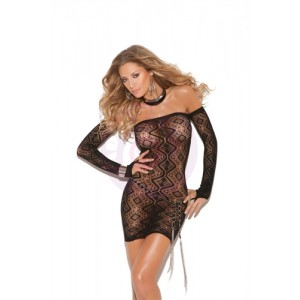 Diamond Pattern Bandeau Dress - One Size - Black