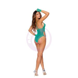 Fishnet Teddy With Strappy Detail and Matching Gloves - One Size - Jade