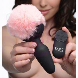 Pink Bunny Tail Vibrating Anal Plug