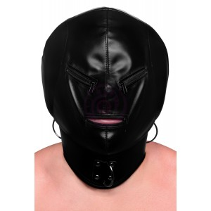 Bondage Hood with Posture Collar & Zippers