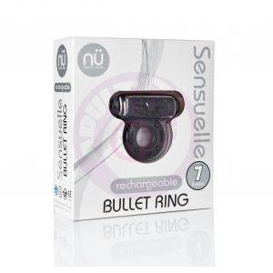 Sensuelle 7 Function Rechargeable Bullet Ring -  Black