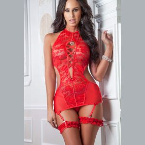 3pc High-Neck Plunging Garter Slip - One Size - Carmine