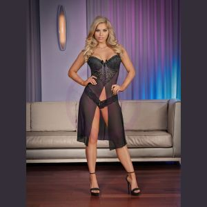 Nightfall Short Gown & Thong Panty Set - Large/ Extra Large