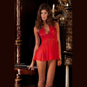 2-Piece Lace and Mesh Halter and Babydoll and G-String Set - Medium - Red