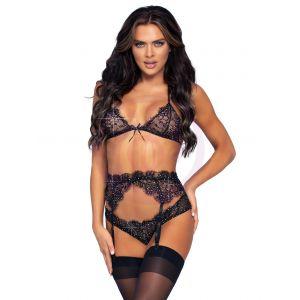 3 Pc Rhinestone Lace Bra Top Panty and Garter Belt Set - Medium - Black