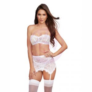 3 Piece Bra, Garterskirt, & G-String Set -Medium  - White