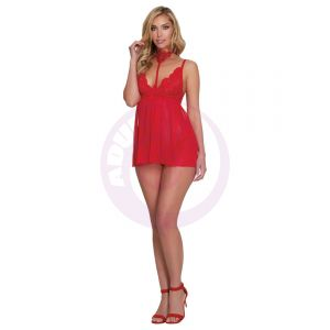 Babydoll, G-String - One Size - Lipstick Red