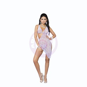 Lace Asymmetrical Gown and Matching G - String - One Size - Lilac