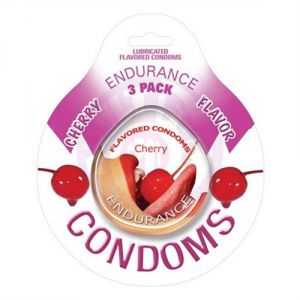 Endurance Lubricated Flavored Condoms - 3 Pack Disc - Cherry