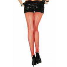Backseam Fishnet Pantyhose - One Size - Red