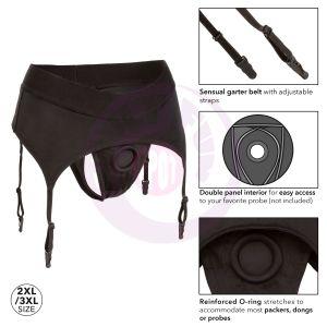 Boundless Thong With Garter - 2l/3xl - Black
