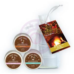 Hemp Seed Holiday Candle 2 Oz Trio in Organza Bag