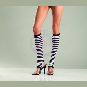 Striped Nylon Stirrup Knee Highs - Black/ White -  One Size