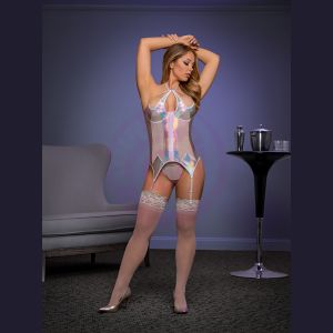 Oil Slick Merry Widow and G-String Set - Silver - L/xl