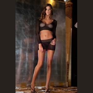 2 Piece Quarter Crochet Net Bodystocking - One Size - Black