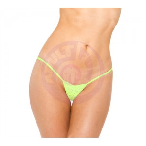 V-Front Thong - Neon Green - One Size