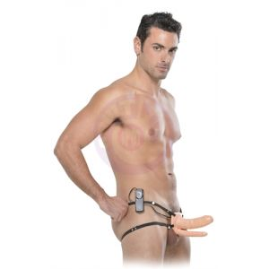 Fetish Fantasy Series 6-Inch Double Penetrator Vibrating Hollow Strap-on - Flesh