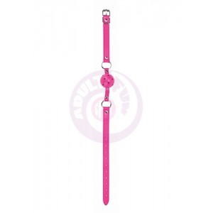 Ball Gag With Leather Straps - Pink