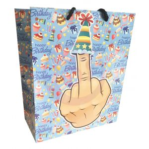 Middle Finger With Party Hat Happy Birthay Gift Bag 8x10