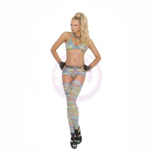 Bra Top Booty Shorts and Thigh Highs in Geometric Multi Color - One Size