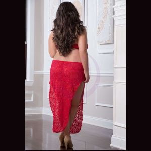 2 Pc. Shoulder-Baring Laced Night Dress - Red  Cherry - Queen Size
