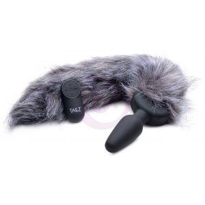 Grey Fox Tail Vibrating Anal Plug