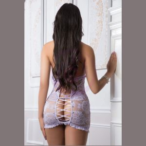 2pc Floral Lace Tube Dress With Open Front and  Back - One Size - Sheer Lilac