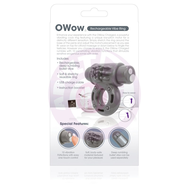 Charged Owow Rechargeable Vibe Ring - Grey