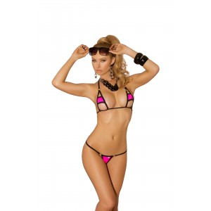 2 Piece Swimwear Set - One Size - Neon Pink