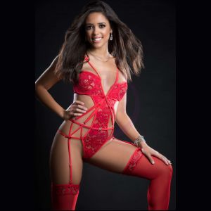 2pc Embroidered Lace Garter Teddy and Stockings - One Size - Candy Red