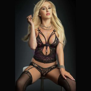 3pc Plunge Cami Top and Brazilian Garter Panty and Stockings - One Size - Black