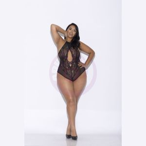 Lace and Mesh Halter Teddy - Queen Size - Black