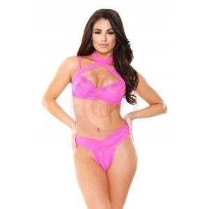 Farah Strappy Bra Top & Panty - Shocking Pink -  Medium/ Large