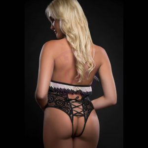 1pc Extravaganza Plunge Teddy With Open Crotch and Open Back - One Size - Black