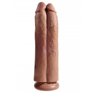 "King Cock 11"" Two Cocks One Hole - Tan"