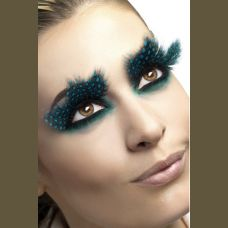 Large Aqua Dots Feather Eyelashes
