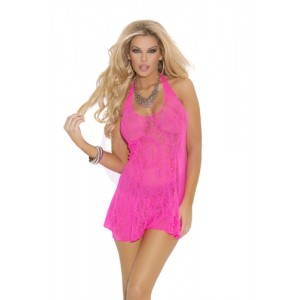 Lace Halter Mini Dress - One Size - Neon Pink