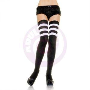Athletic Ribbed Thigh Highs - One Size  - Black/white