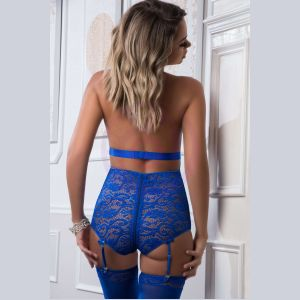 2 Pc. Plunging Teddy With Zipper Open Crotch and Stockings - Blue Angel - One Size