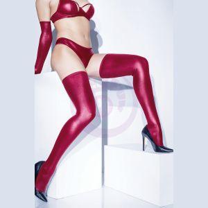 Wet Look Stocking - Merlot - One Size