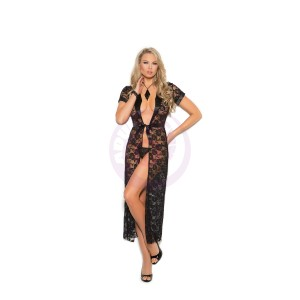 Long Lace Robe With G- String - Medium  - Black