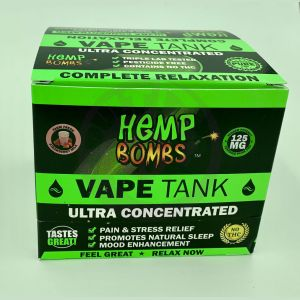 Hemp Bombs 125mg Hemp Vape Tank Cartidge - Fresh Strawberry Milk 6 Ct Display