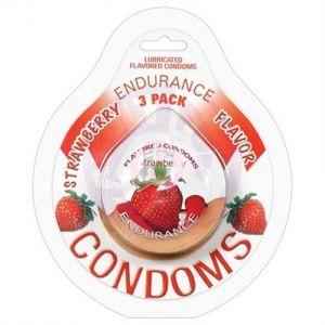 Endurance Condoms - Strawberry - 3 Pack
