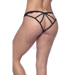 Cage Back Galloon Lace Boyshort With Wrap  Around Elastic Detail - Large/extra Large - Black