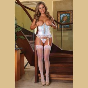 Cupless Corset and G-String Set 3x-4x - White